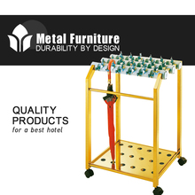 Commercial Ss Umbrella Rack With 4 Wheels And Gold Plated FH-UR001