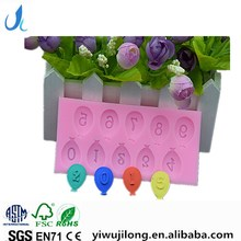 High quality silicone the ballon number cake mould wholesale