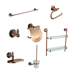Low prices hotel toilet washroom wall hung mounted decorations brass rose gold polished bathroom 3 6 piece accessory set