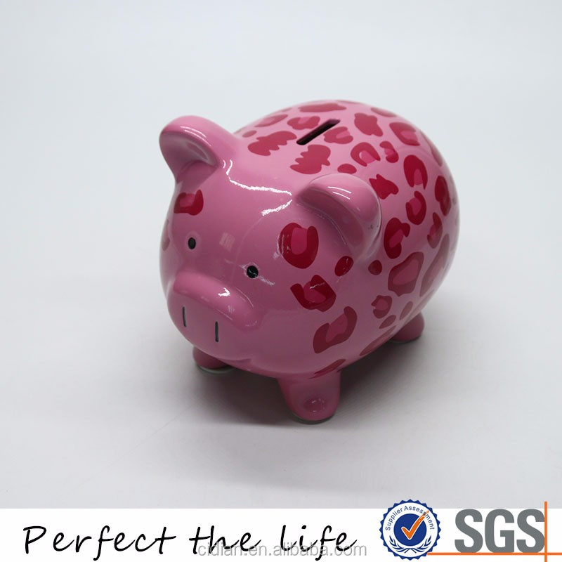Wholesale Ceramic Lovely Pink Pig Shaped Coin Piggy Bank