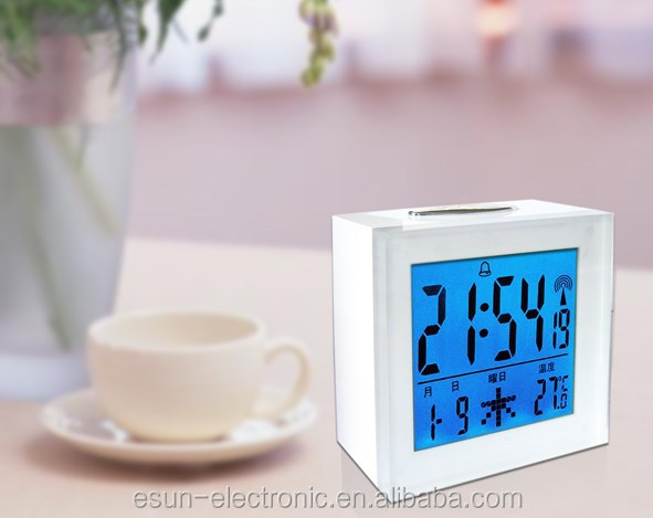 Acrylic lens high resolution LCD digital desktop table snooze alarm RCC Radio controlled weather station clock/DCF clock