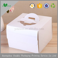 guangzhou factory wholesale cheap price reliable quality custom white art paper slice cake box with handle