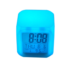 LCD Digital Large Screen Travel Desk Electronic Alarm Clock, Date/Time/Calendar/Temperature Color Changing Alarm Clock