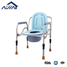 Stainless steel portable and folding shower toilet commode chair with bedpan