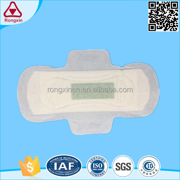 Pure cotton factory price sanitary napkin with negative ion women menstrual pad