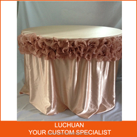 Customized Luxury Round Satin Tablecloth With Chiffon Flower