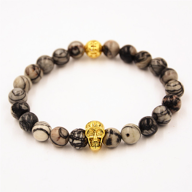 2016 Fashion Jewelry 8mm Natural Stone Gray Picasso Jasper Bead Bracelets Bangle Skull Charms Bracelet Gift