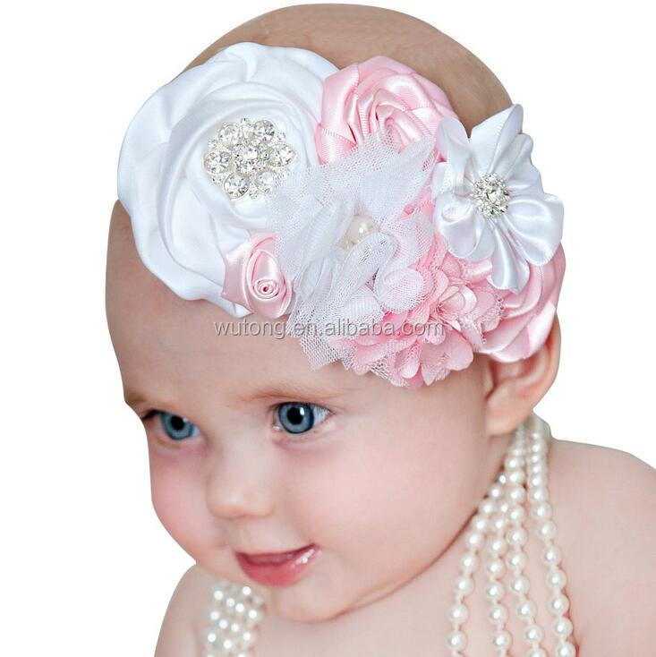 White Pink Flower Rose Baby Girls Bow Knot Floral Headband Hairband Children Crystal Head Wrap Hair Band Accessories