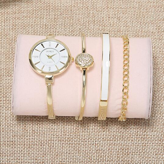 Guangzhou watch factory wholesale 4pcs installed set lady fashion luxury watch gift