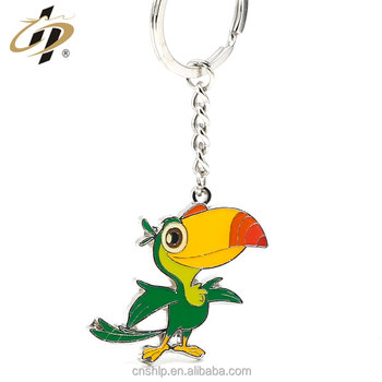 Custom alloy casting enamel paint emboss parrot key chains for promotion