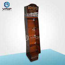 Power Wing Cardboard Floor Display Stand with removable base for coffee Retail Store
