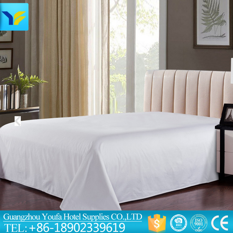 Wholesale hotel high quality polyester/cotton double bed sheets weight