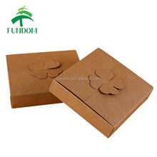 fashionable food take away no glue flat packing pizza cupcake packing cheap natural brown kraft paper box with bownknot lock