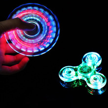 Flashing Light Tri Angle Crystal LED Hand Fidget Spinner For ADHD