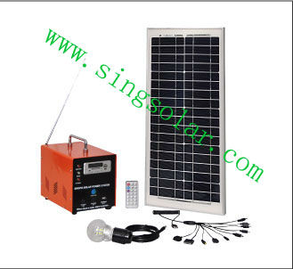 mini 10w PV Solar power home generating system with FM Radio for camping/small portable solar system