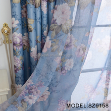 High grade cheap polyester voile printed fabric for curtains