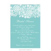 Teal Blue Lace bridal shower invitations, Turquoise Lace Wedding Invitations