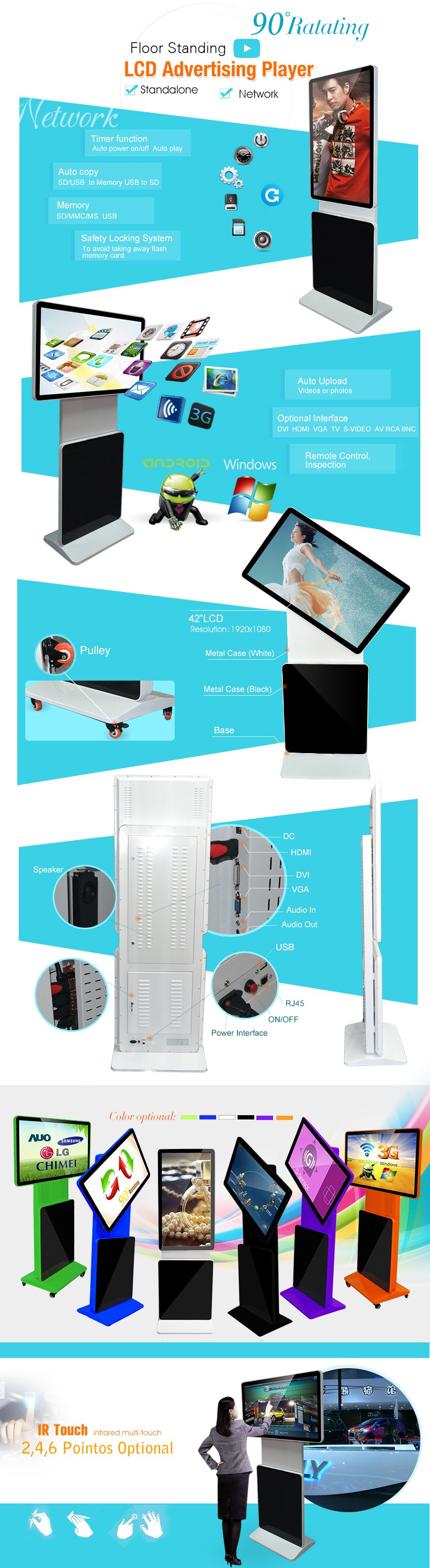 42 inch 4K LED lcd advertising display outdoor
