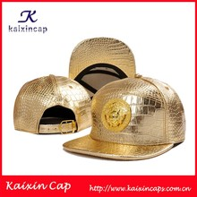 wholesale custom high quality metal patch gold fabric snapback hat