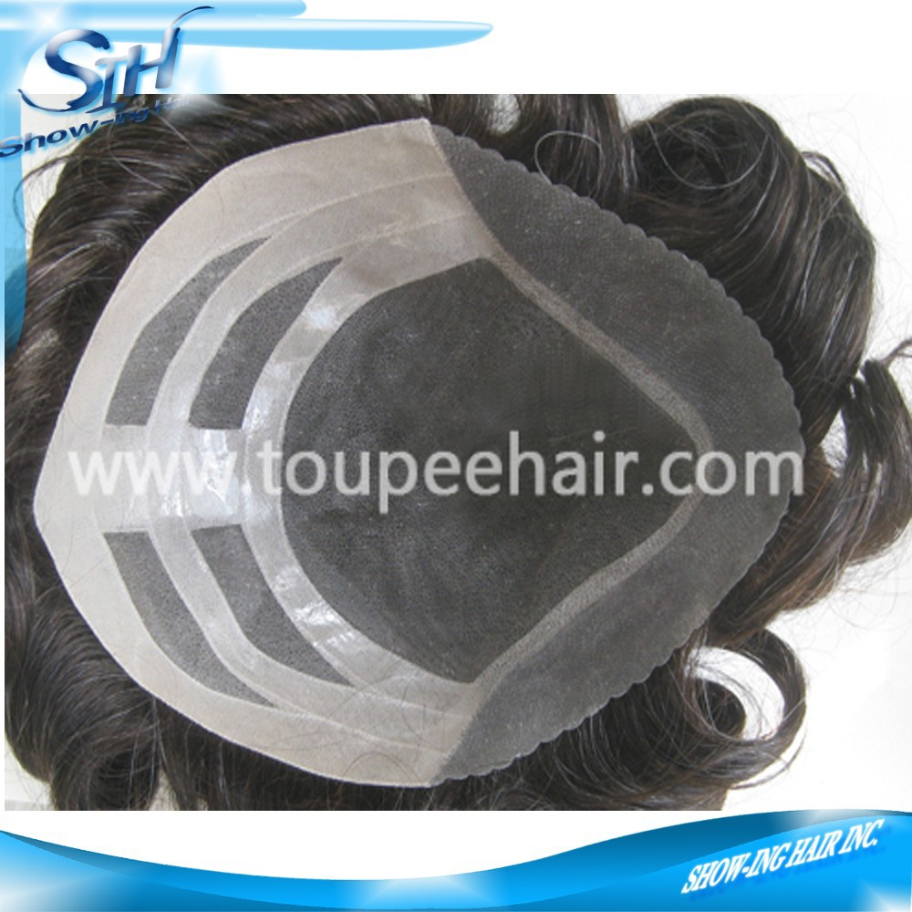 Grey Human Hair Fine Mono Toupee For Men