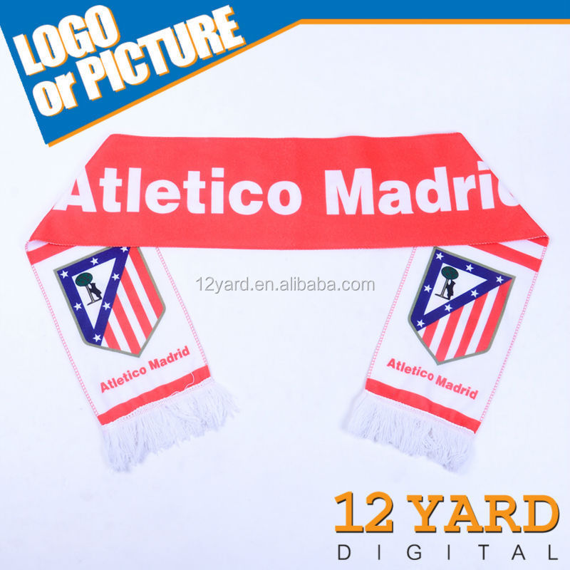 100 Polyester printed sport Atletico Madrid football fans scarf shawl for sport soccer mens neckwear