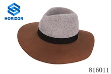 camel and grey joint matching color fedora hat derby hat wool felt fedora hat