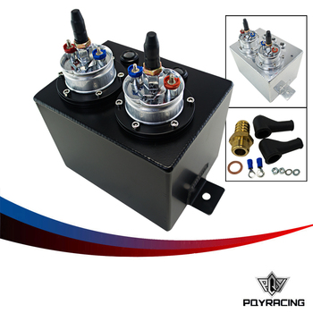 PQY RACING-3L Dual BILLET ALUMINUM FUEL SURGE TANK / SURGE TANK With 2pc 044 FUEL PUMP SILVER OR BLACK PQY-TK84044