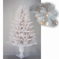 White Outdoor Wire Lighted Artificial Christmas Tree