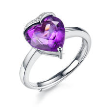 925 sterling silver jewelry princess crown heart ring genuine amenthyst gem stone mystic amethyst ring