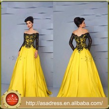 HTJ24 Sexy unique elegant Lebanon maxi evening Gowns Black Lace Ball Gown Yellow off-shoulder long sleeve muslim evening dress