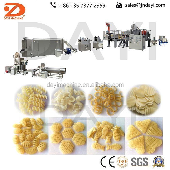 corn starch snack 3D pellet food extrusion processing line
