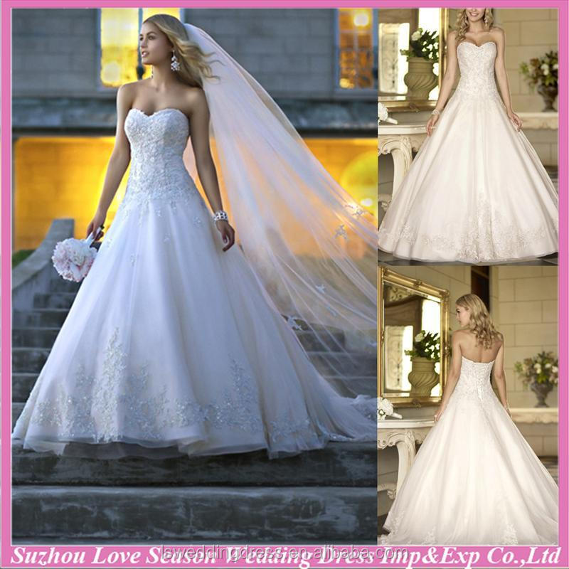 WD7670 Brand new with great price royal train with long veil sweetheart neckline tulle ball gown lace corset wedding dresses