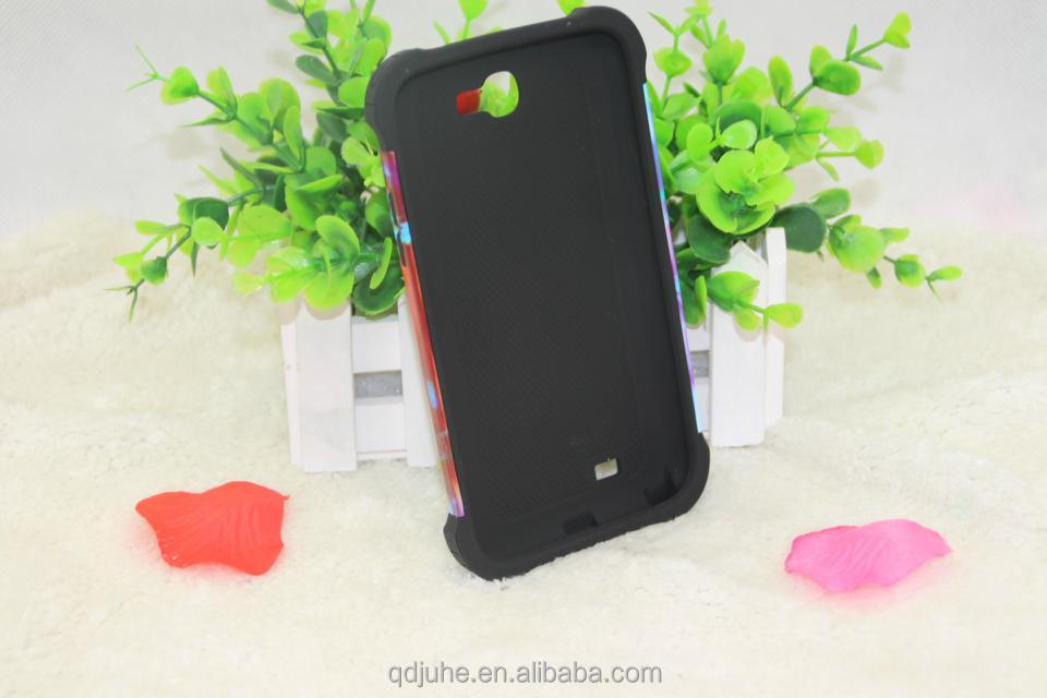 3D 2 in 1 sublimation phone case for samsung note 2 mobile phone shell