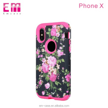 Drop resistance rose flower case for iphone x black phone cover pc rubber smart phone case