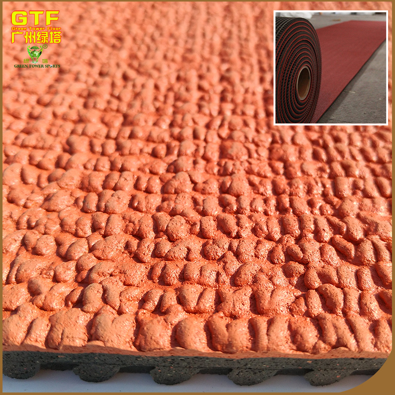 Environmental prefabricated rubber surface flooring roll for sports runway