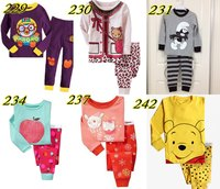 brand new boys and girls long sleeve pyjamas suits kids cotton sleepwear wholesale cartoon nightgown