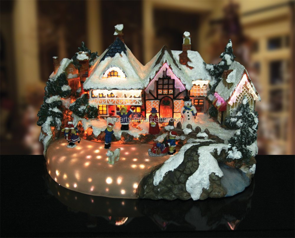 wholesale led lighted decoration polyresin musical animated christmas village - Animated Christmas Village