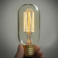 Short tube Edison light lamp, vintage Tube Edison Bulb light bulb, antique Tube Edison Bulb