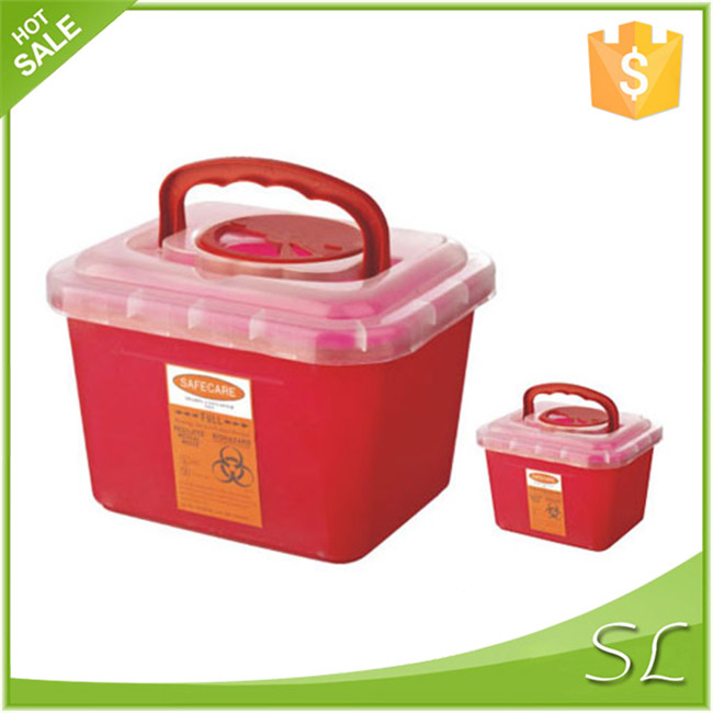 Puncture Resistant Syringes Collection square plastic container With Handle