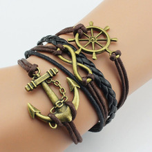 Wholesale accessories rudder anchor unisex braided leather bracelet