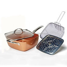 24cm copper square pan with glass lid,fry basket and steam roast rack,copper baking pan