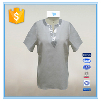 Latest Sequins Short Sleeves Neck Design For Ladies Top Cutting