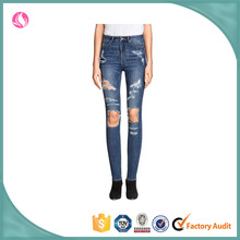 Ladies Top Design Denim Fabric Distressed Jeans Women Jeans Pent Pants for Woman