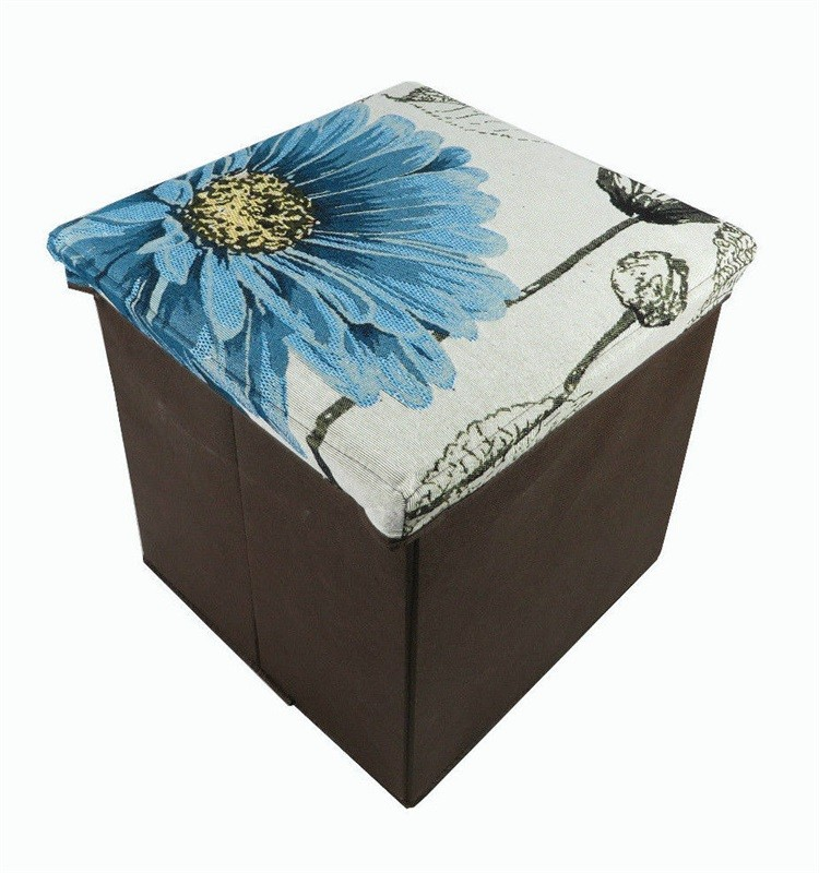 Stylish sturdy printed canvas fabric folding storage stool with lid