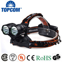 Rechargeable LED Headlamp 2000Lm Zoomable 3 Modes Handsfree Headlamp Waterproof Outdoor Headlamp