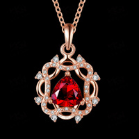 female necklace jewelry / red pendant necklace jewelry / 18k gold plated necklace