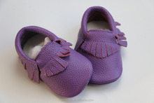 2016 new spring style Fashion purple Genuine leather Baby Moccasins girls shoes Accept OEM Quick Delivery
