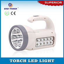 High brightness reflector powerful Rechargeable power light LED Torch with handle