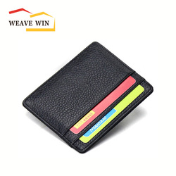 Promotion durable wallet slim money clip credit card holder ID business mens & womens genuine leather thin wallet