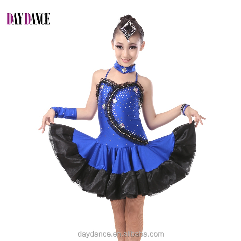 Kids Low Back Sexy Harness Dress Children Girl Ballroom Performance Latin Dance Dress